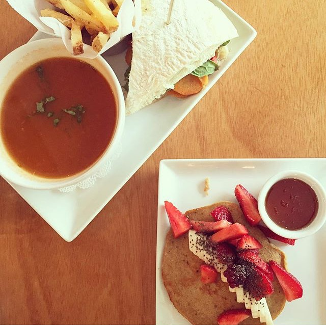 Our meal at Bulali. I had a vegan, grilled vegetable sandwich with baba gannoush and the tomato soup. Yucca fries on the side. Delish!