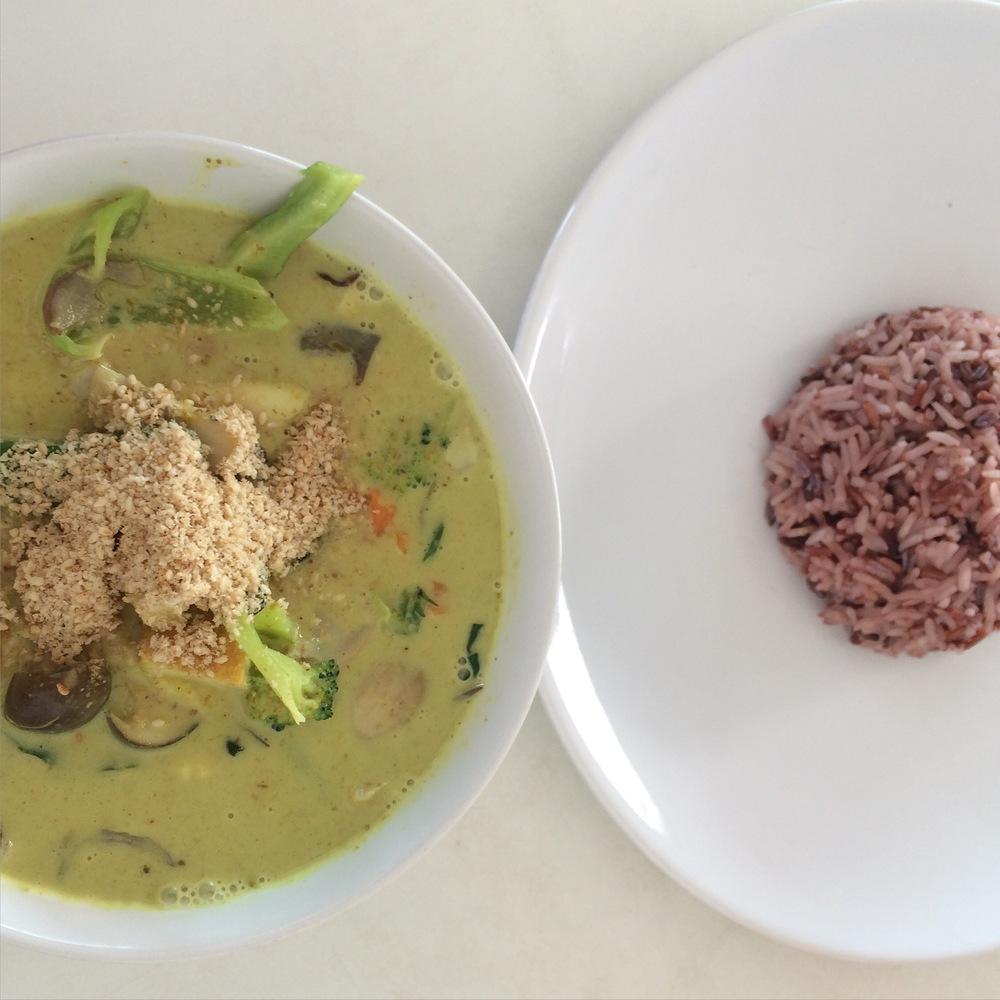 The best green curry I've ever had - from Kun Na's Vegan Kitchen near Bang Tao beach, Phuket.