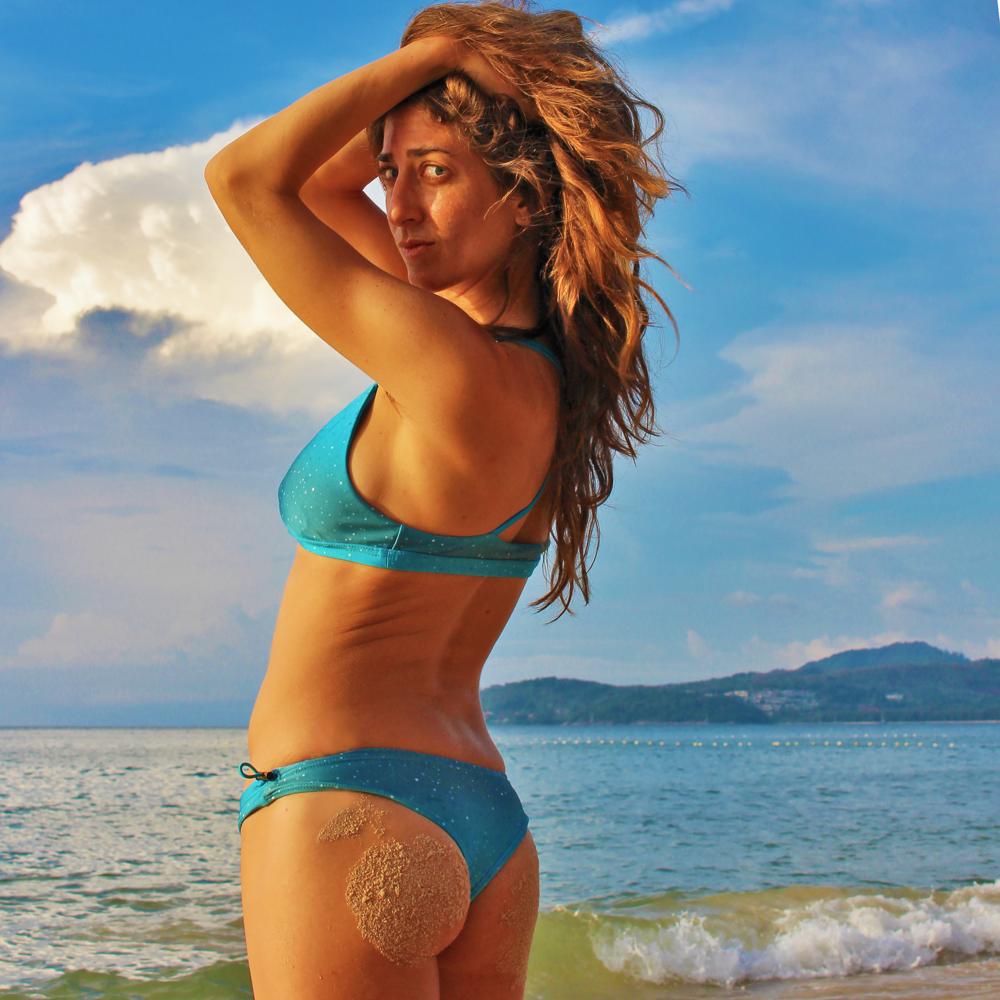 Yogi: @rima_danielle, Bikini: @miolasurf, in Phuket, Thailand.