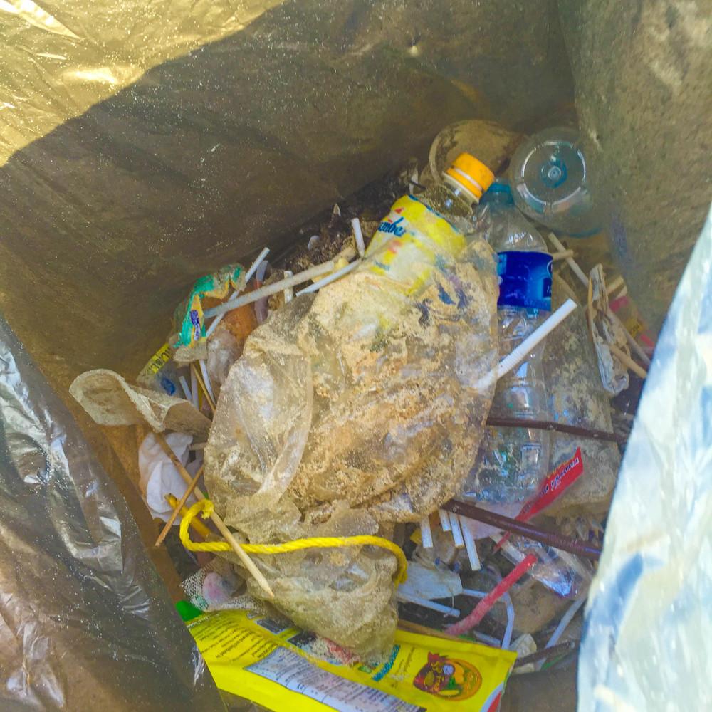 Our trash bag when it was half full (or half empty, lol).