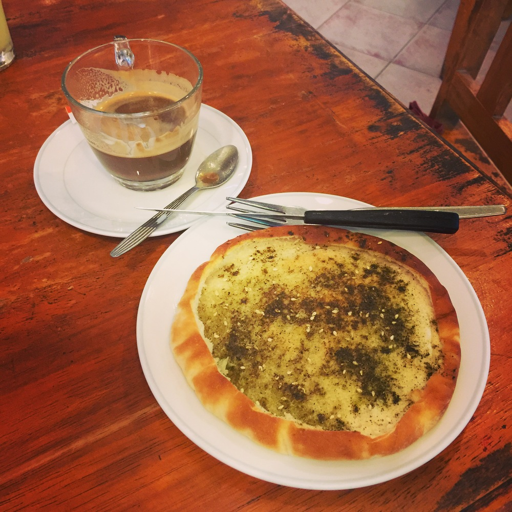 Za'taar flatbread and espresso from  Paprika Restaurant  in Haad Rin, Koh Phangan, Thailand.