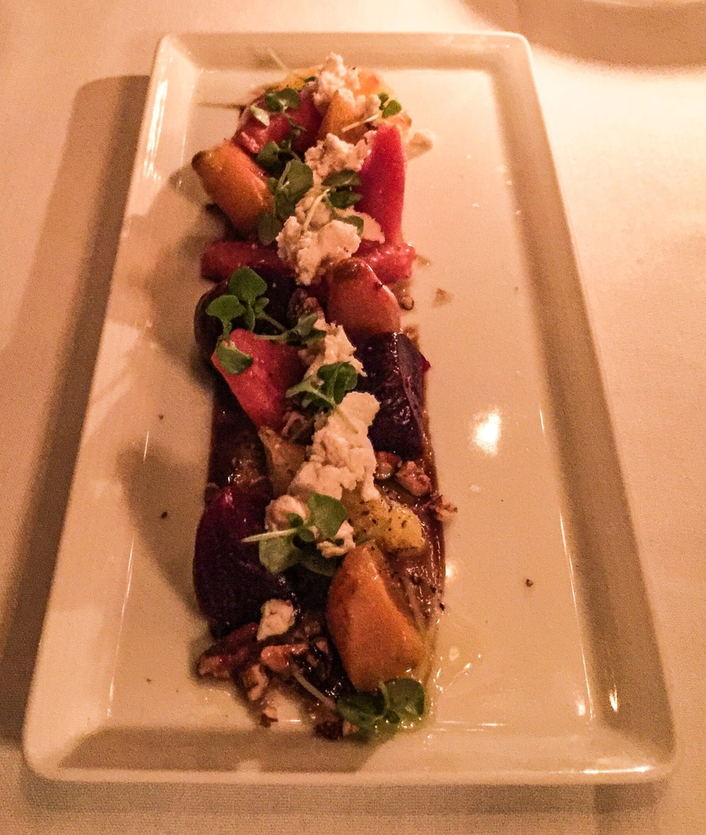 Baby Beet & Citrus Salad - served with candied walnuts, Kite hill almond cheese,
