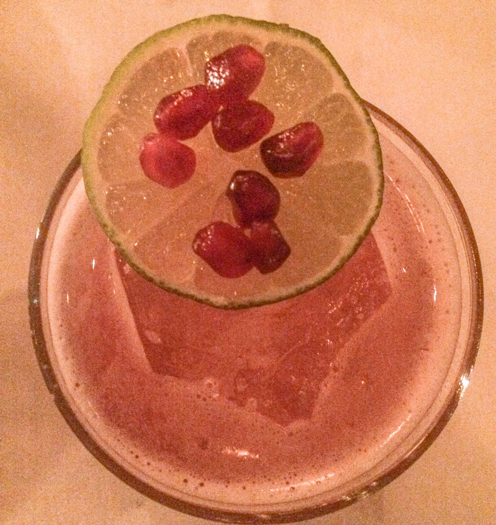 Cause For Alarm - Arette blanco tequila, dry curacao, lime agave, grenadine, topped with pomegranate seeds.