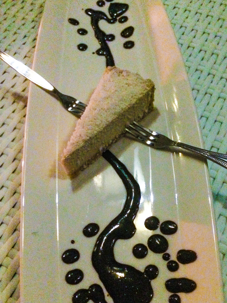 Raw coconut cheesecake with raw chocolate sauce - we licked the plate!