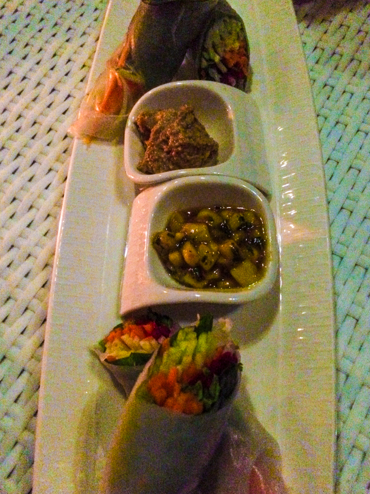 Fresh Spring Rolls with a mango chutney and a tamarind dipping sauce. Divine!