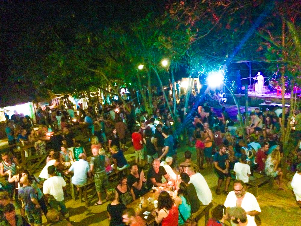 A birds-eye view of Otres Beach Night Market on Saturday nights.