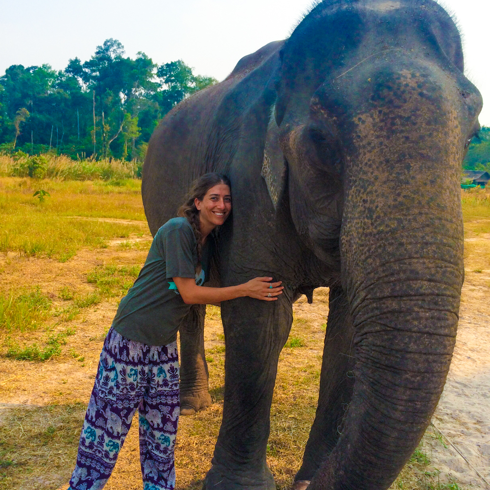Giving hugs to Kham Lin, a 68-year-old rescued beauty.