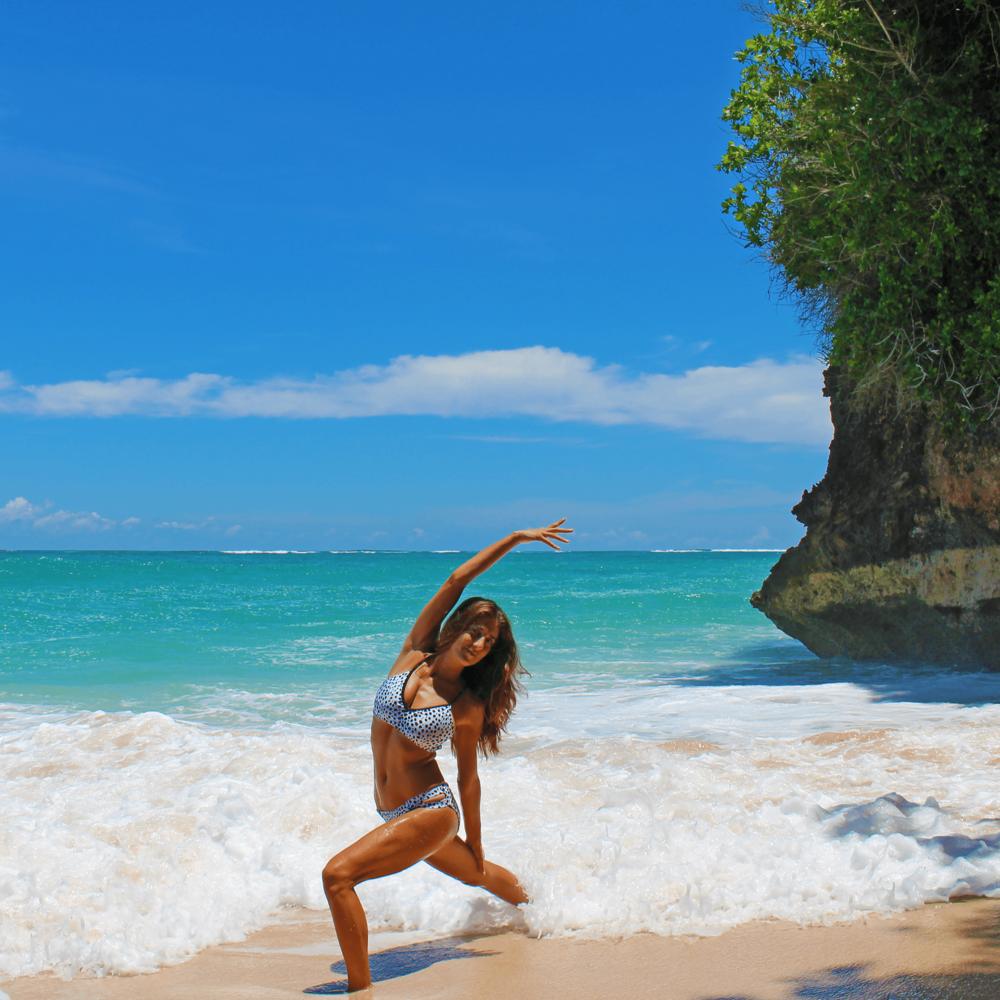 @rima_danielle, wearing Arenose Swimwear, in Pantai Pandawa Bali.