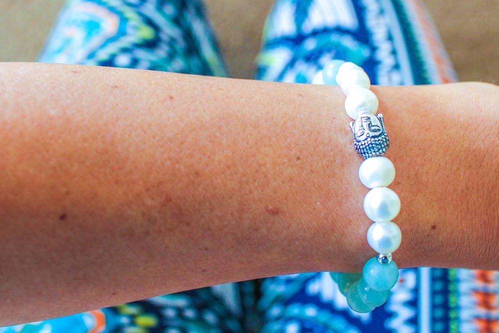 Pearl & Amazonite Buddha Bracelet from the Yogi Surprise Jewelry Box.