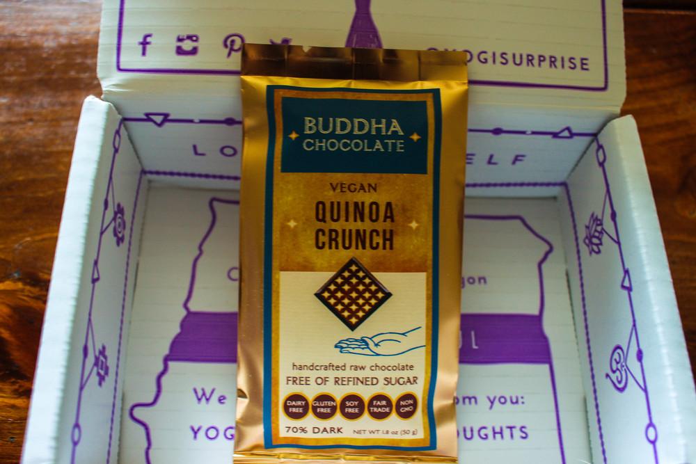 Buddha Chocolate Quinoa Crunch Bar from the Yogi Surprise Jewelry Box.