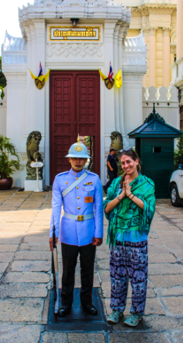 Posing with the very serious guard at Grand Palace. I considered doing a Hallow back Handstand on him but figured he really wouldn't appreciate it.