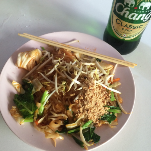 Vegan Pad Thai and a Chang from Mr. Yim's Vegetarian stand.