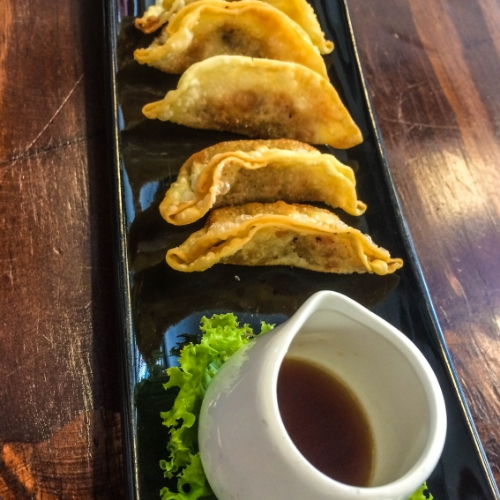 Fried Gyoza with a homemade Ponzu dipping sauce.