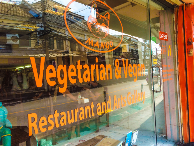 The outside of Mango Vegan & Vegetarian Restaurant in Bangkok, Thailand.