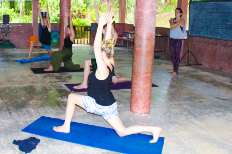 Teaching yoga to the guests at Eco-Logic Yoga Retreat.