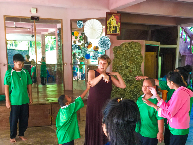 One of TCDF's founders, Ingrid, interacting with the children in the special school at TCDF.