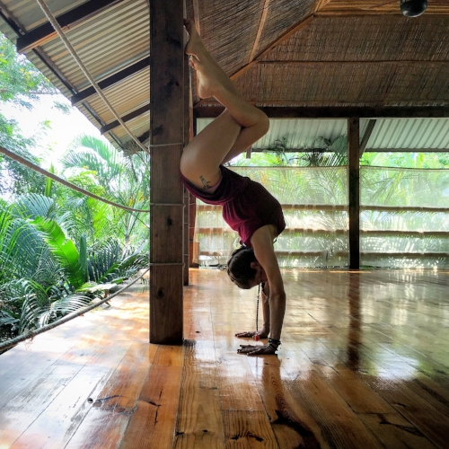 I love being upside down! Nautilus Boutique Hotel, Jungle Yoga Deck, Santa Teresa, Costa Rica. June 2016.