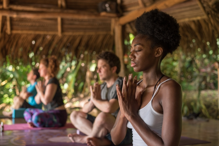 Enjoying daily yoga and meditation like these guests did from our last retreat!