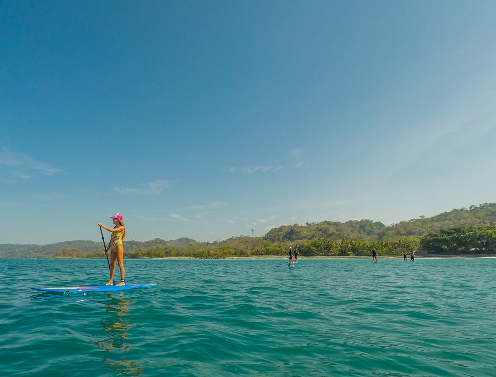 Touring around Cabo Blanco Nature Reserve on our paddleboards.