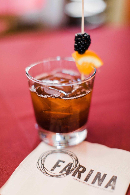 maker's bramble - makers mark bourbon, blackberry reduction, orange 13