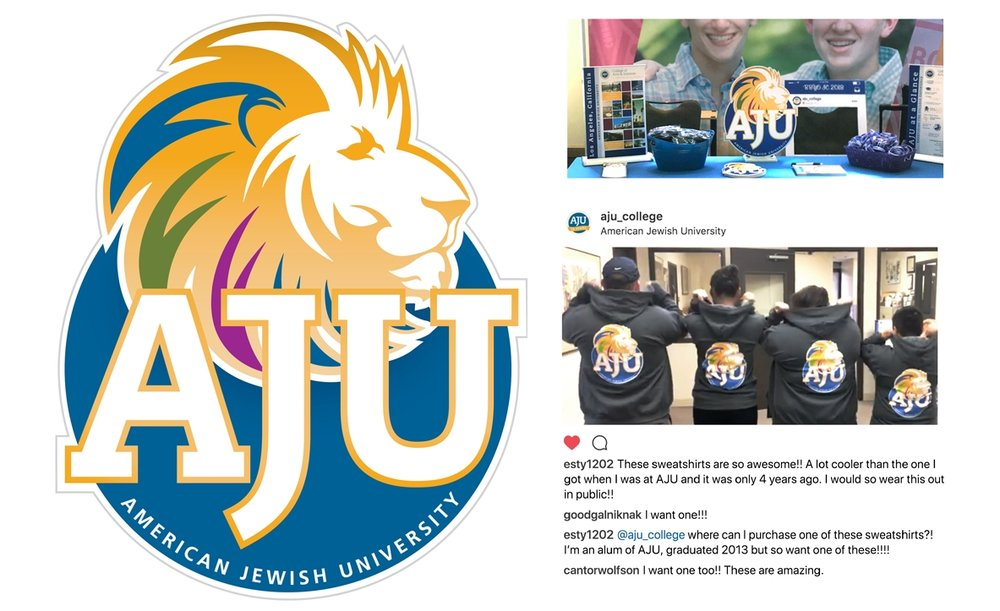 American Jewish University mascot design and related materials