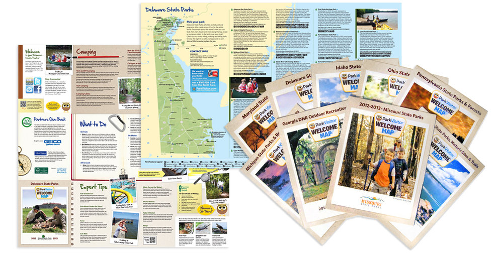 Official state park maps with a distribution of over 2 million