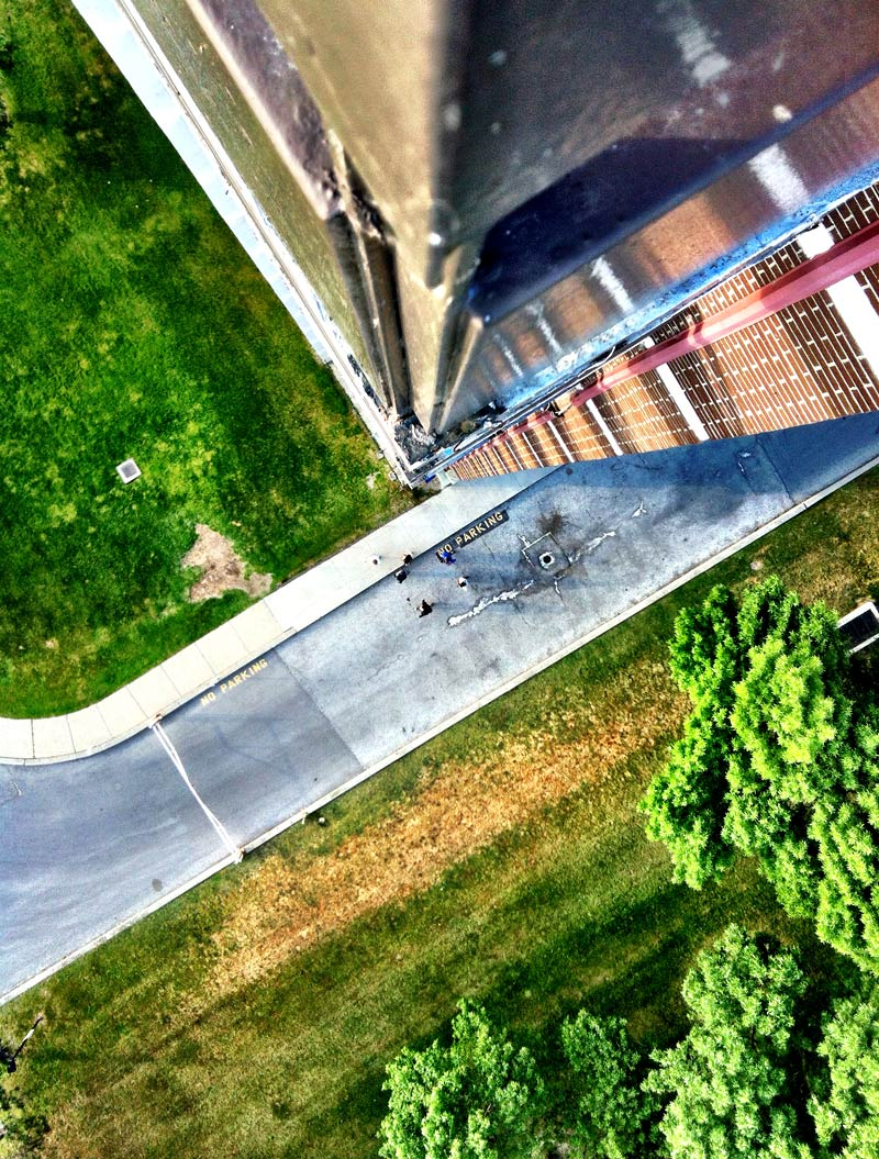 Looking down from 17 stories in a building Shot by Dennis Marciniak of denMAR Photography in 2012 on the iPhone 4