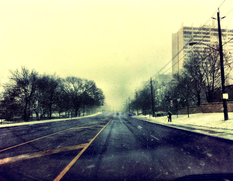 A snowfall in Toronto on Jane street while on a commute on a leap year none the less