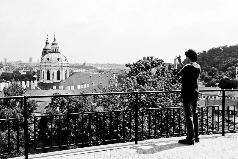 Taking a picture of the Prague cityscape