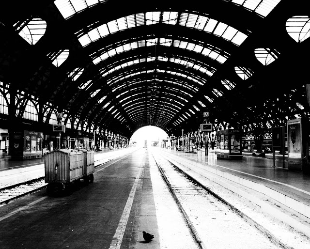 Milan's central train station in Black and White
