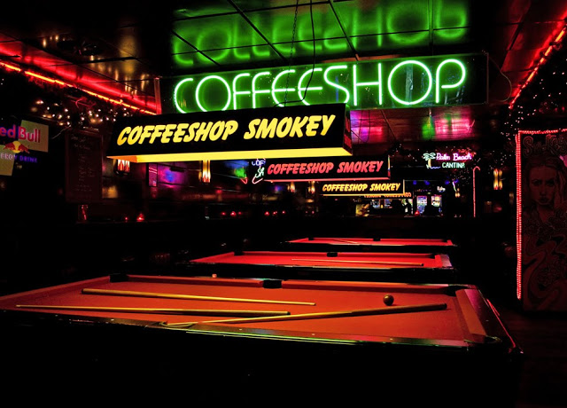 Coffeeshop Smokey in Amsterdam. A shop or cafe where cannabis is sold.