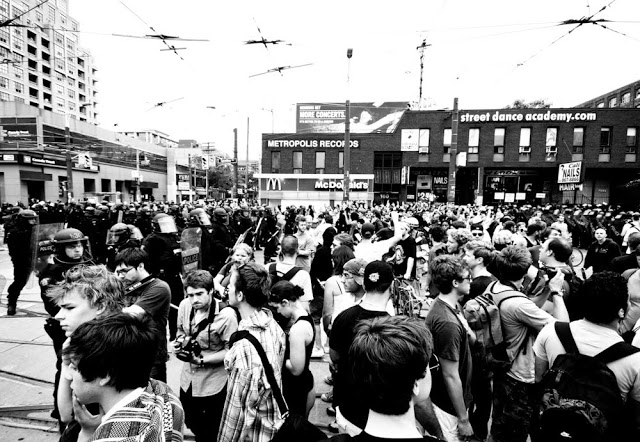 Trapped by riot police at Queen and Spadina because of the Toronto 2010 G20 summit