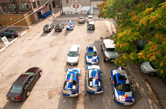 The parking lot where Red Bull stores their promotional vehicles in Toronto