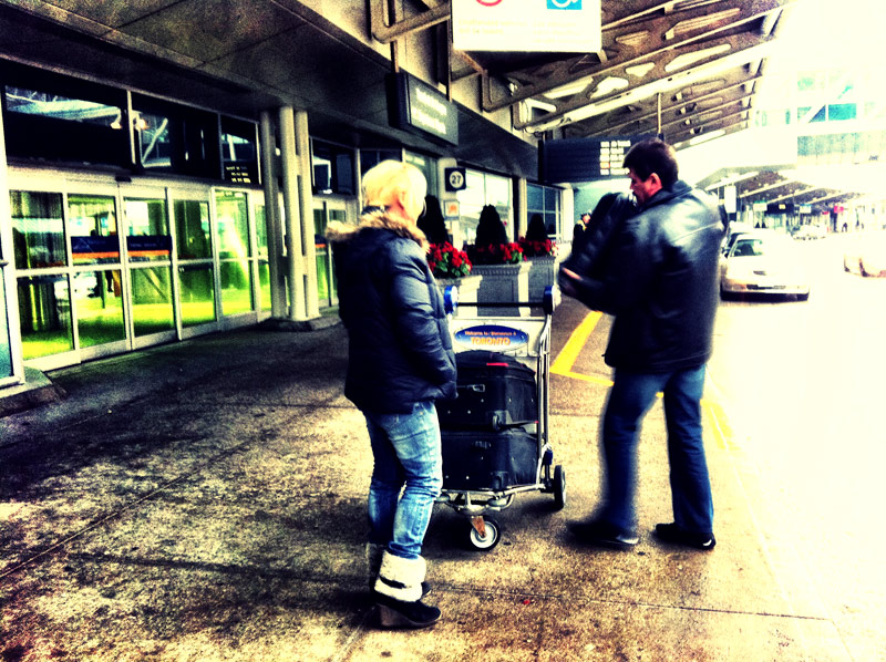 An older couple dropping off my parents at Pearson