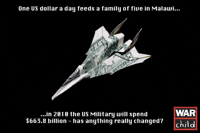 A PSA for War Child, an American dollar bill folded into a F-16