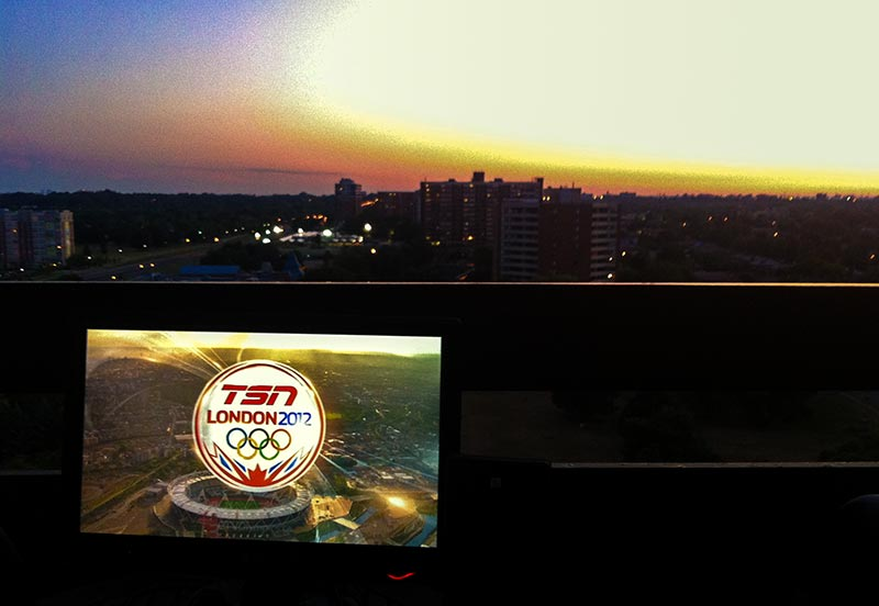 The London 2012 Olympics watched on a balcony in Canada