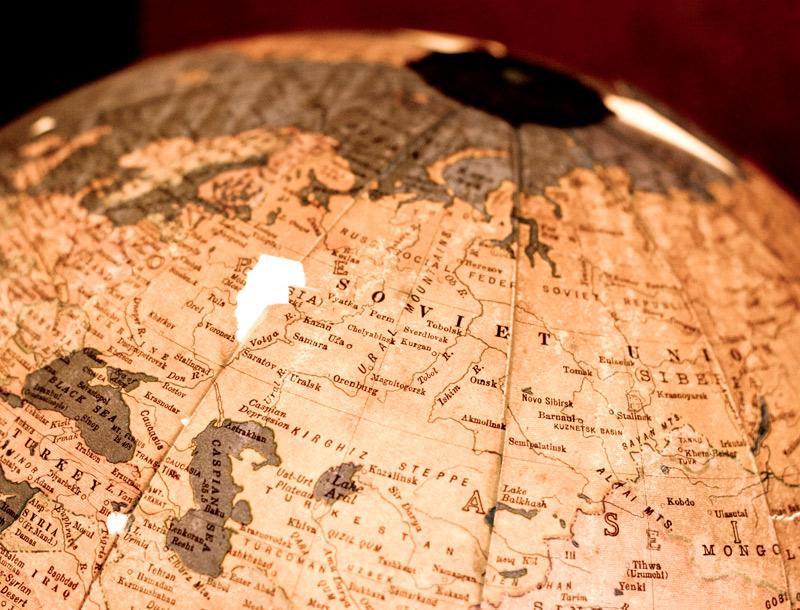 Soviet Union on a globe