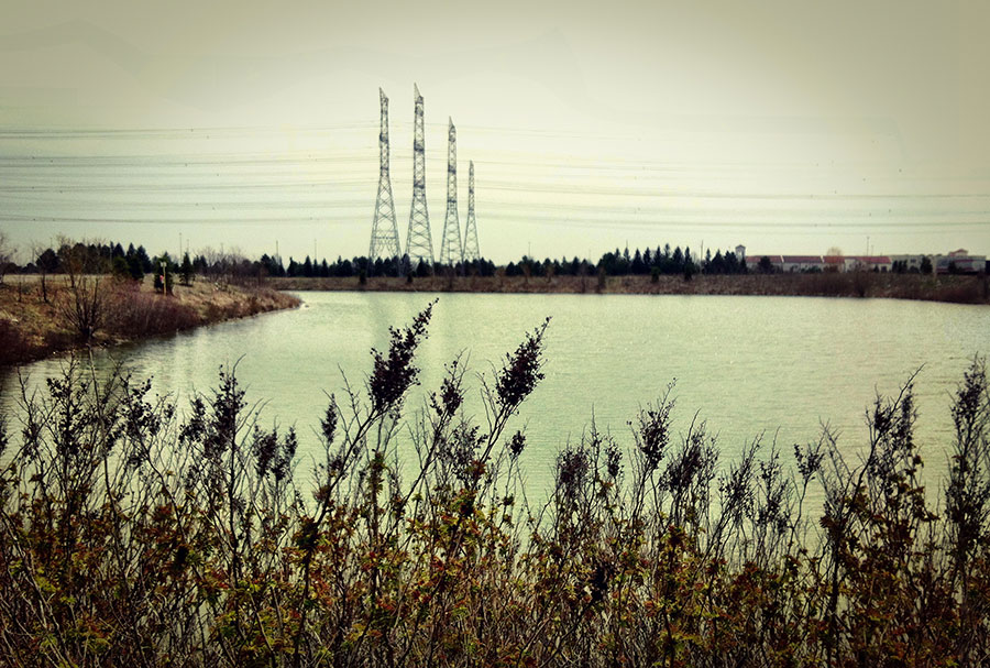 Power lines near Toronto Ontario by a pond shot on the iPhone 4 by Dennis Marciniak of denMAR Photography