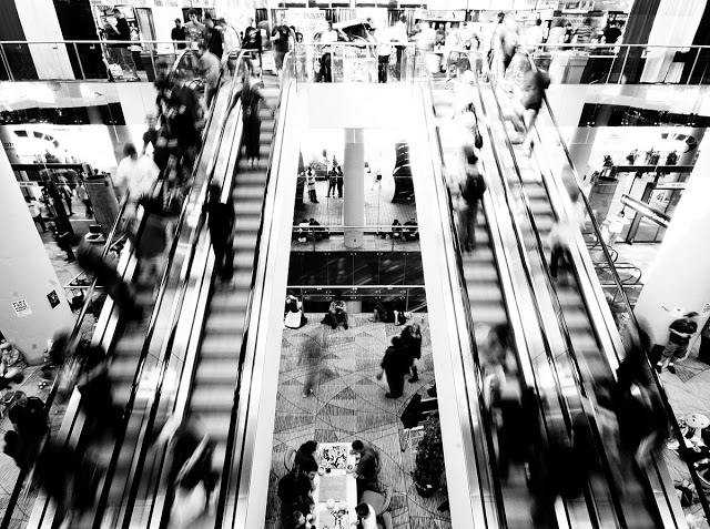 The Metro Toronto Convetion Center escaltor in motion and black and white