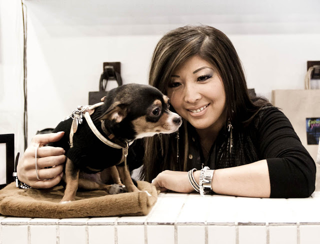 Janet from Fashionably Yours with her Dog!