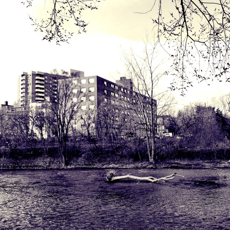 The Humber River in Black and White in Etobicoke Ontario
