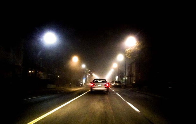 Driving on a foggy road in Toronto as seen by Dennis Marciniak