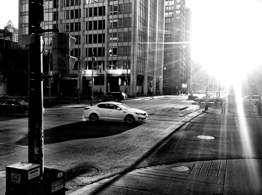 Queen & Richmond Street in Toronto during a Sunset in the winter