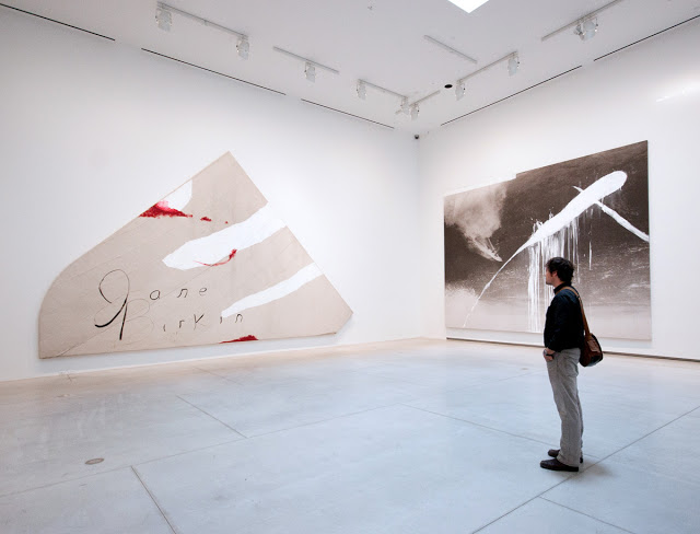 Julian Schnabel at the AGO with his works of art