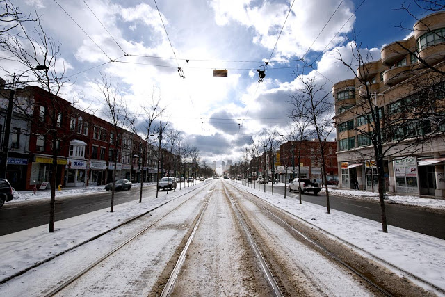 The Spadina Streetcar tracks in the Winter