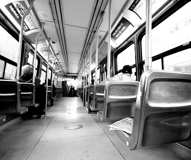 The interior of a TTC Toronto streetcar
