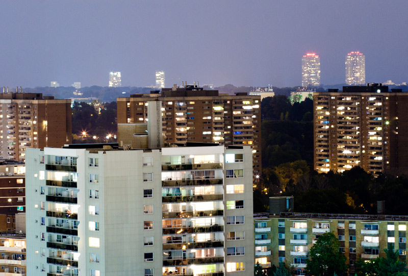Apartment buildings at night in Toronto's West End