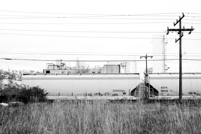 A train in an industrial factory somewhere in Toronto