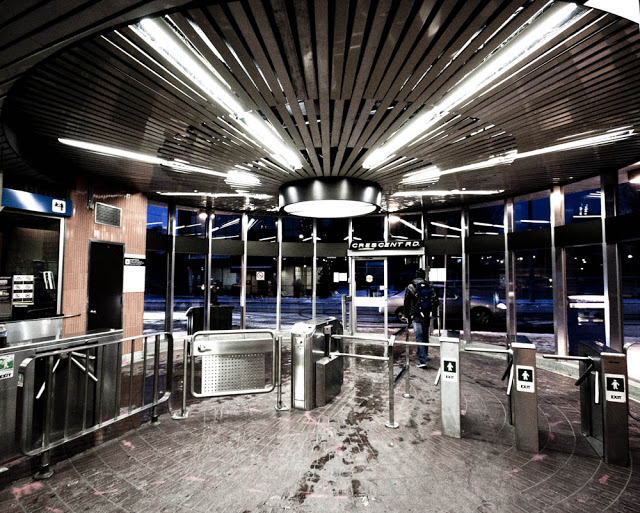 Turnstalls and payment area at TTC's Rosedale station, as seen by photographer Dennis Marciniak