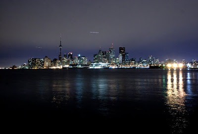 Earth Hour 2010 as seen from Cherry Street in Toronto, Canada at 8 30 at night